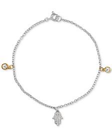Cubic Zirconia Hamsa Hand & Bezel Bracelet in Sterling Silver & 18k Gold-Plate, Created for Macys