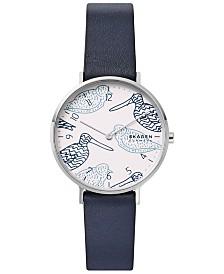 Skagen Women's Aaren Navy Leather Strap Watch 36mm Created for Macy's