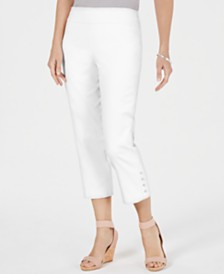 JM Collection Petite Button-Hem Capri Pants, Created for Macy's