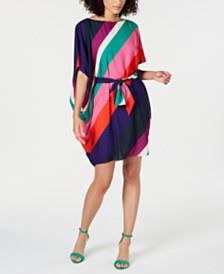 Trina Turk Printed Belted Poncho Dress