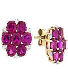 Certified Ruby (3-1/2 ct. t.w.) & Diamond (1/10 ct. t.w.) Cluster Stud Earrings in 14k Gold