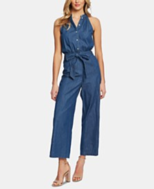 CeCe Cotton Denim Shirting Belted Jumpsuit