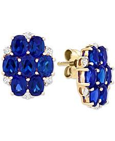 Sapphire (3-1/2 ct. t.w.) & Diamond (1/10 ct. t.w.) Cluster Stud Earrings in 14k Gold