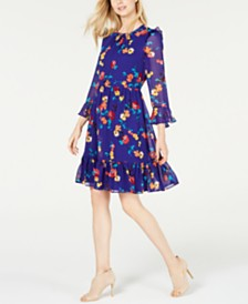 Calvin Klein Floral-Print Flounce Dress