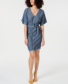 Trina Turk Lanai Denim Frayed-Hem Shirtdress