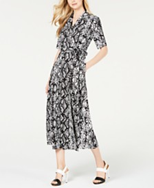 Calvin Klein Python-Print Wrap Maxi Dress
