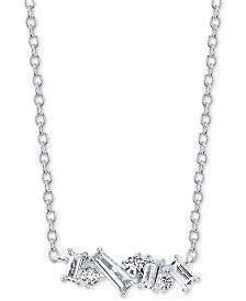 "Unwritten Cubic Zirconia Cluster Pendant Necklace in Sterling Silver,  16"" + 2"" extender"