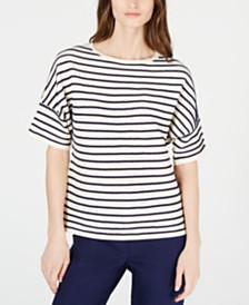 Anne Klein Short-Sleeve Striped Top