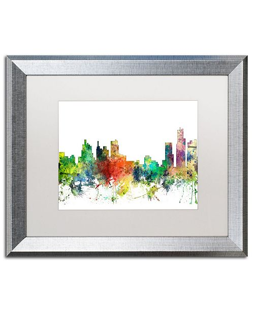 "Trademark Global Marlene Watson 'Detroit Michigan Skyline SP' Matted Framed Art - 16"" x 20"""