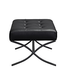 Ottoman With Metal Frame and Bonded Leather Upholster