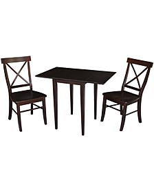 Small Dual Drop Leaf Table With 2 X-Back Chairs