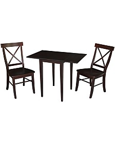 International Concepts Small Dual Drop Leaf Table With 2 X-Back Chairs