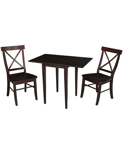 WHITEWOOD INDUSTRIES/INTNL CONCEPTS International Concepts Small Dual Drop Leaf Table With 2 X-Back Chairs