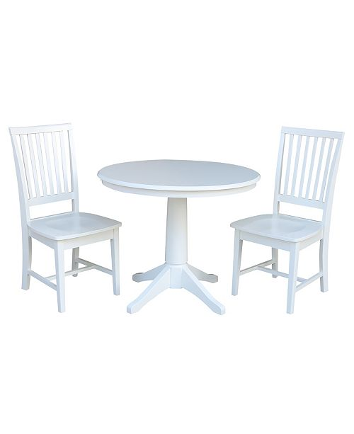 """WHITEWOOD INDUSTRIES/INTNL CONCEPTS International Concepts 36"""" Round Top Pedestal Table - With 2 Mission Chairs"""