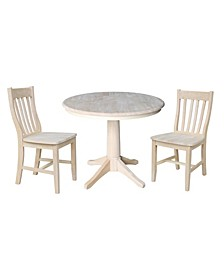 "36"" Round Top Pedestal Table - With 2 Cafe Chairs"