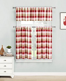 Kingsville 3-Piece Plaid Kitchen Curtain Set