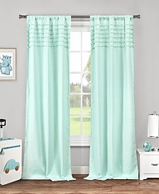 "Lizbett 38"" x 84"" Pompom Trim Curtain Set"
