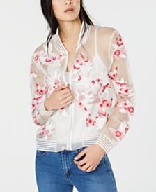 Elie Tahari Silk Floral-Appliqué Sheer Bomber Jacket