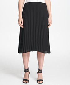DKNY Petite Pleated Midi Skirt
