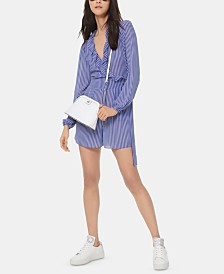 MICHAEL Michael Kors Striped Ruffled Romper
