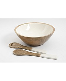 Enamel & Wood Salad Set