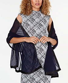 Calvin Klein Satin Border Evening Wrap & Scarf in One