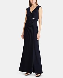 Lauren Ralph Lauren Rhinestone-Pin Jersey Gown