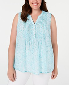 Charter Club Plus Size Printed Pleated Top, Created for Macy's