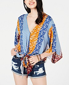 Juniors' Printed Tie-Front Dolman-Sleeved Top