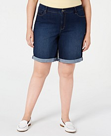 Plus Size Cuffed Tummy-Control Shorts, Created for Macy's