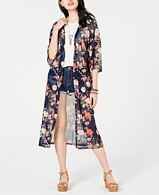 Juniors' Printed Mesh Duster Kimono