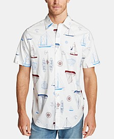 Men's Blue Sail Oxford Printed Shirt, Created for Macy's