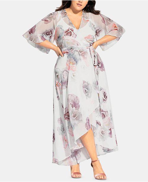 City Chic Trendy Plus Size Floral Chiffon Maxi Wrap Dress