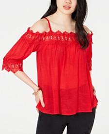 BCX Off-The-Shoulder Crochet-Trim Top