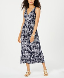 Charter Club Petite Printed Sleeveless Dress, Created for Macy's
