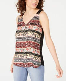 BCX Juniors' Mixed-Print Zip-Neck Top