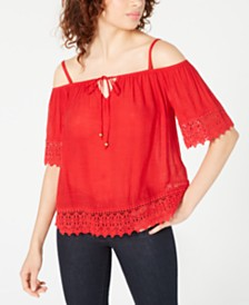 BCX Juniors' Crochet-Trim Off-The-Shoulder Top