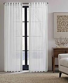 Woven Stripe Border Pole Top Window Panel Pair