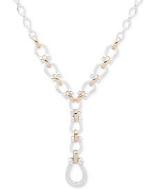 """Lauren Ralph Lauren Two-Tone Large Link Lariat Necklace, 16"""" + 3"""" extender"""
