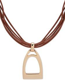 "Lauren Ralph Lauren Gold-Tone Leather Stirrup Pendant Necklace, 16"" + 3"" extender"