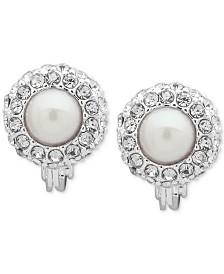 Lauren Ralph Lauren Silver-Tone Imitation Pearl & Crystal Clip-On Earrings