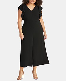 Trendy Plus Size Cropped Wide-Leg Jumpsuit