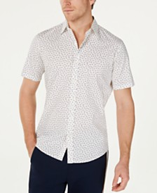 Michael Kors Men's Slim-Fit Stretch Micro-Print Shirt