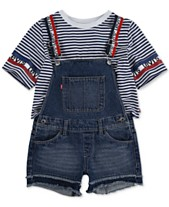 70a4d29ae14 Levi's® Big Girls Striped Cotton Cropped T-Shirt & Shortalls Separates