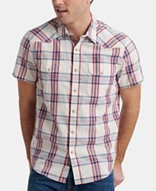 Lucky Brand Men's Plaid Santa Fe Western Short Sleeve Shirt