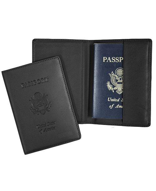 Royce Leather Royce New York Passport Seal Embossed RFID Blocking Passport Case