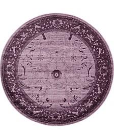 Aldrose Ald4 Violet 8' x 8' Round Area Rug
