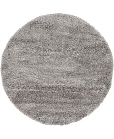 Bridgeport Home Jiya Jiy1 Gray 6' x 6' Round Area Rug