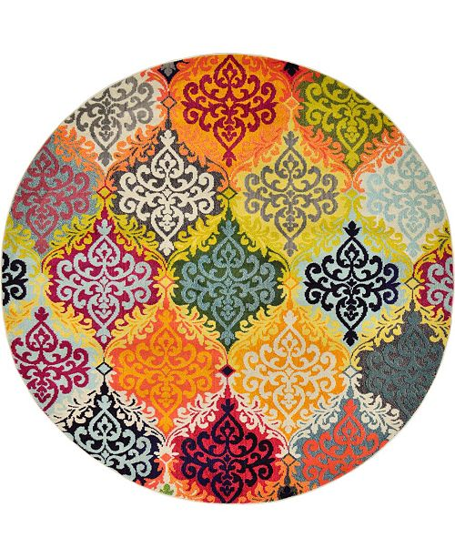 Bridgeport Home Newwolf New2 Multi 8' x 8' Round Area Rug