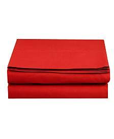 Elegant Comfort Silky Soft Single Flat Sheet Twin Red